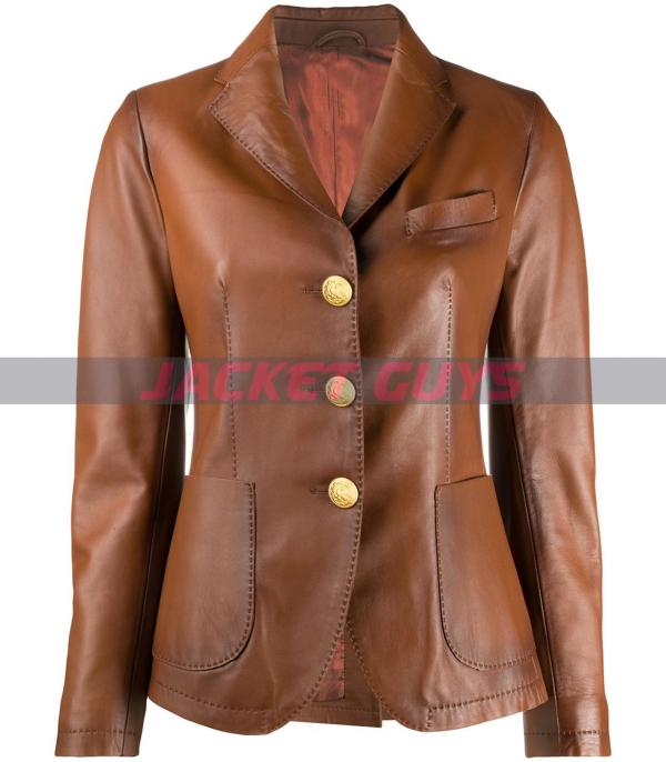 buy now ladies brown leather blazer