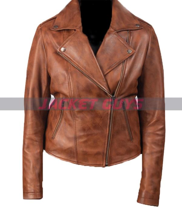 buy now women brown biker jacket