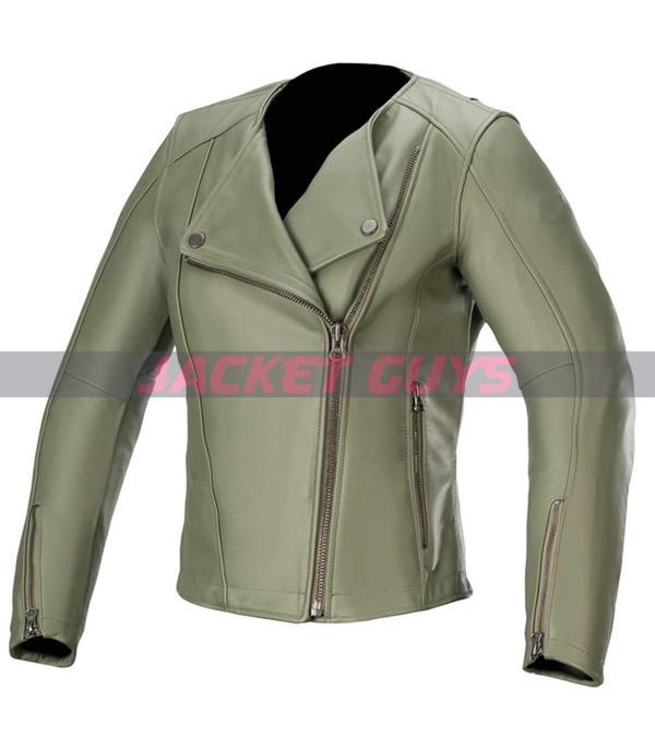 on discount green biker jacket for women