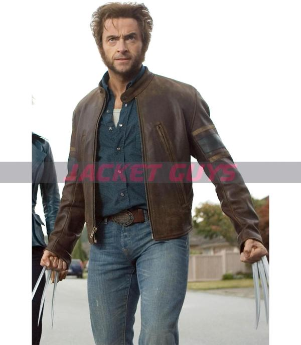 get now hugh jackman x men origins wolverine brown leather jacket with striped style