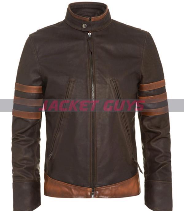 hugh jackman x men origins wolverine brown leather jacket with striped style shop now