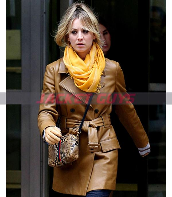 buy now kaley cuoco leather trench coat