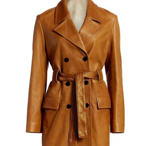 for sale kaley cuoco leather trench coat