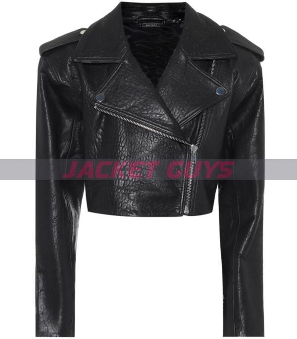 buy womens cropped black leather jacket