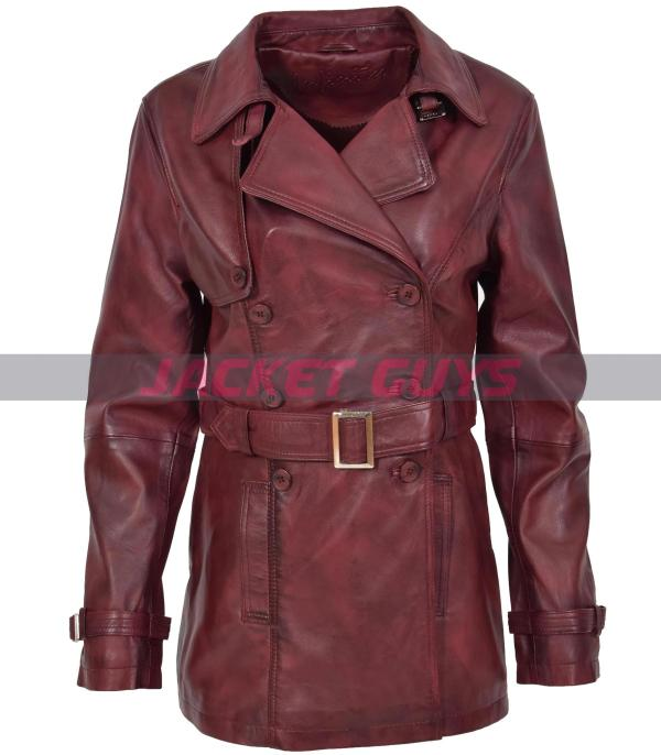 get now women's leather trench coat