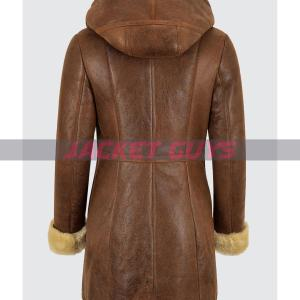 on sale ladies shearling brown leather coat