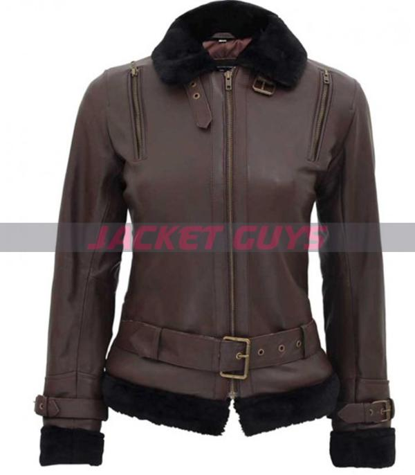 for sale dark brown shearling leather jacket