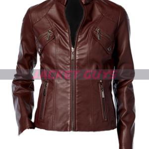 ladies brown leather jacket on sale