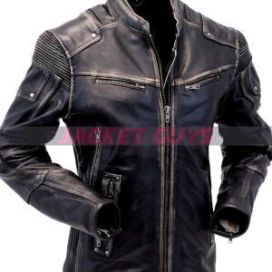 men cafe racer grey leather jacket on sale
