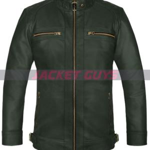 dark green leather jacket on sale