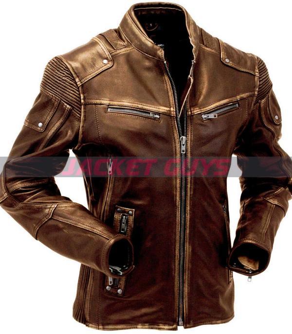 men cafe racer brown leather jacket on sale