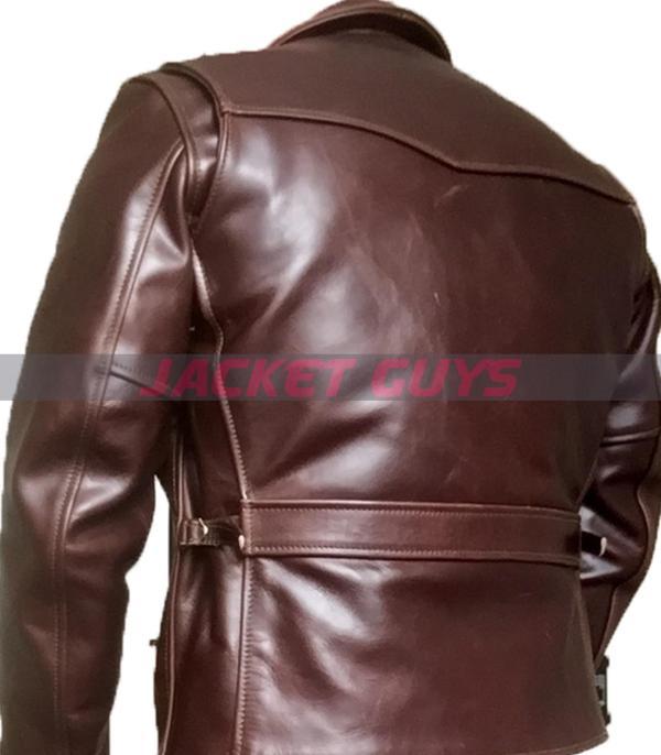 for sale men heavy duty brown leather jacket