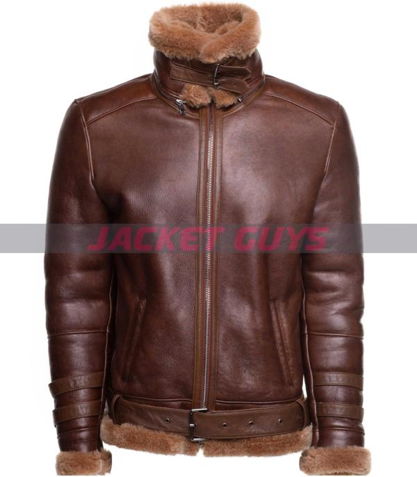mens aviator shearling leather jacket on discount
