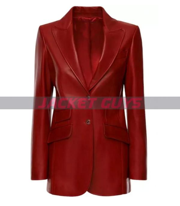 buy now red leather blazer for women