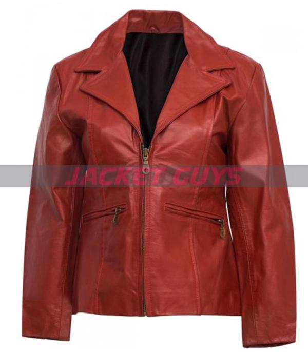 buy now red leather jacket