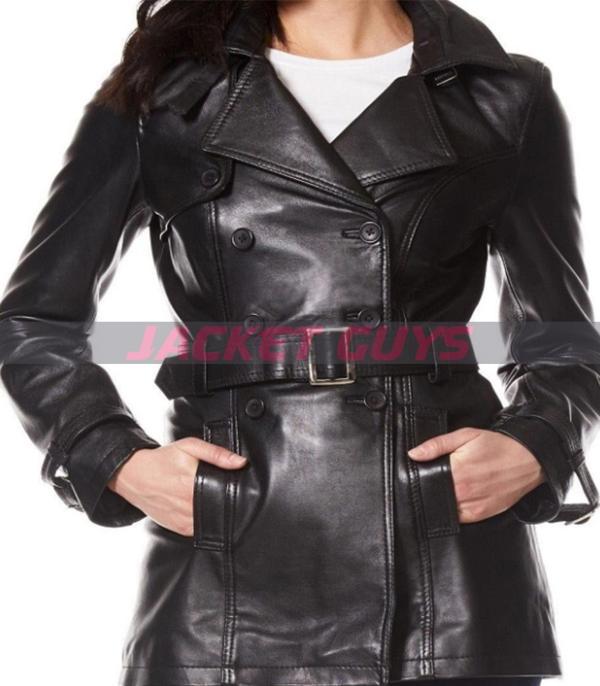 for sale short black leather coat