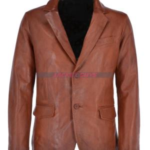 mens brown leather blazer buy now