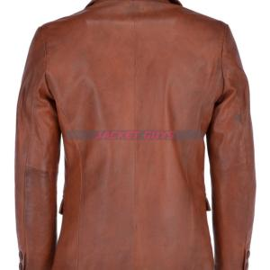 mens brown leather blazer on discount
