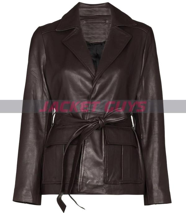 for sale womens dark brown short leather coat