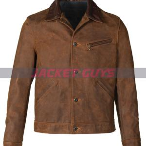 mens brown distressed leather jacket buy now