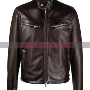 mens funnel neck leather jacket buy now
