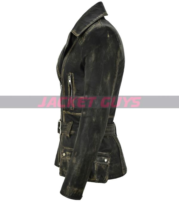 selling now ladies distress trench leather jacket