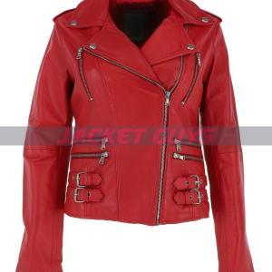 women red biker leather jacket on sale
