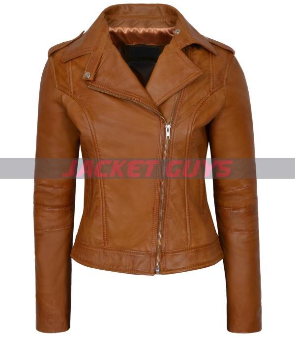 on sale ladies tan brown leather jacket