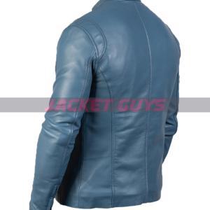 buy now blue leather biker jacket for men on sale