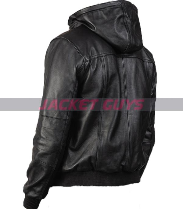 get now mens black hooded leather jacket buy now