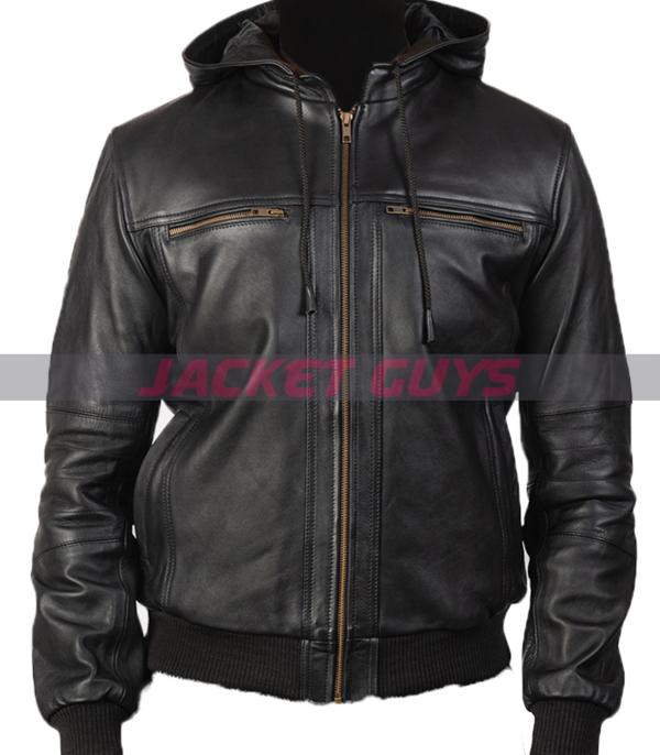 shop now mens black hooded leather jacket buy now