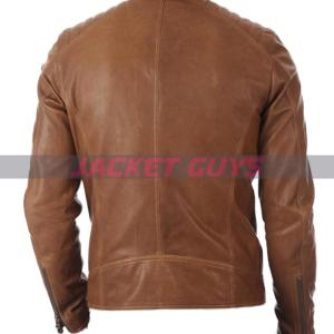 mens fitted brown leather jacket on sale