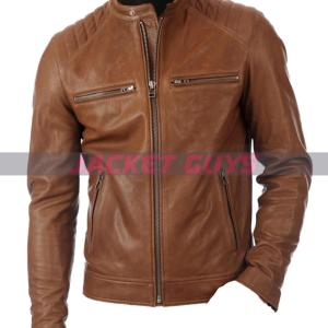get now mens fitted brown leather jacket