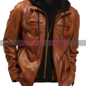buy now mens brown hooded leather jacket