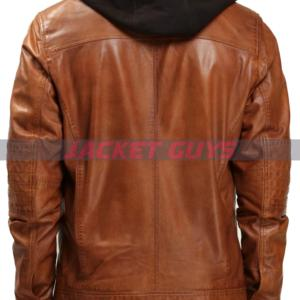 get now mens brown hooded leather jacket