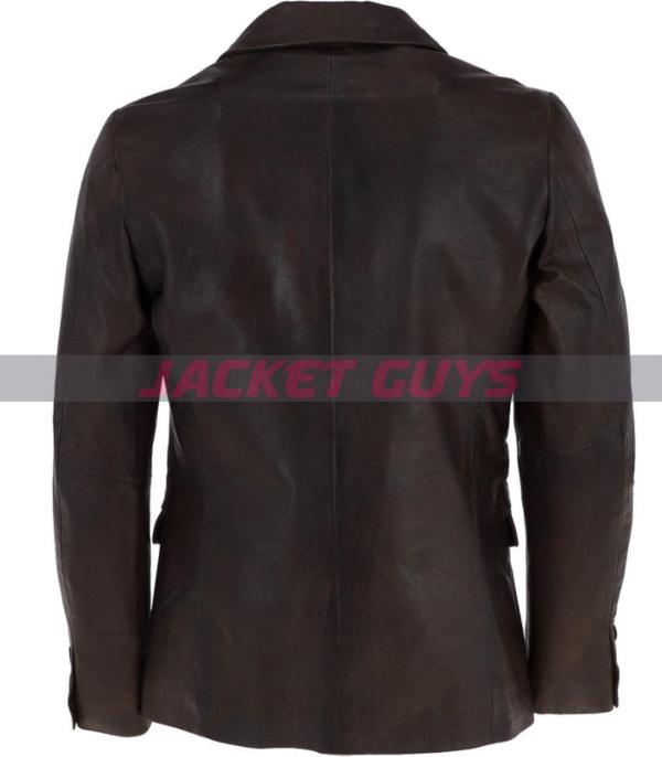 buy now mens dark brown leather blazer