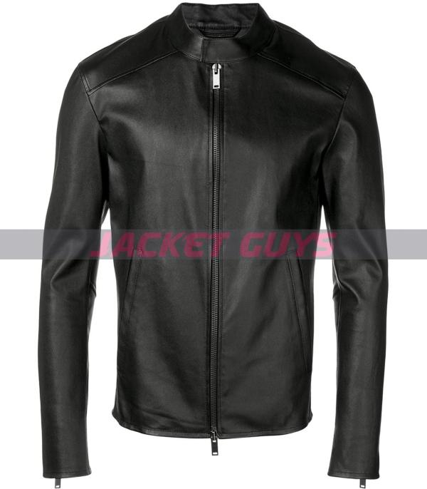 for sale mens round neck leather jacket