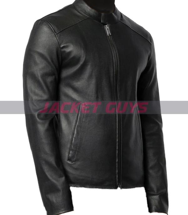 buy now mens round neck leather jacket