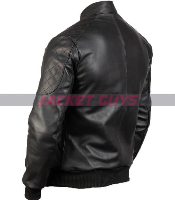 for sale mens sleek black leather jacket