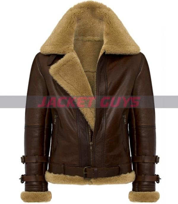 mens dark brown shearling leather jacket get now