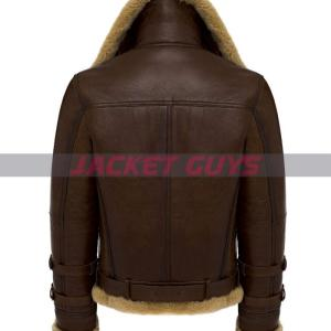 for sale mens dark brown shearling leather jacket