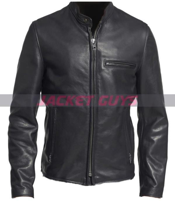 mens dark leather jacket on sale