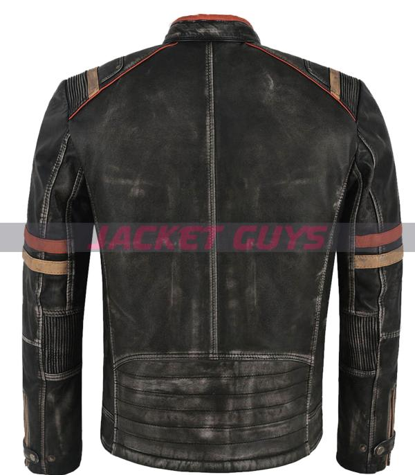 on sale men's distress leather jacket