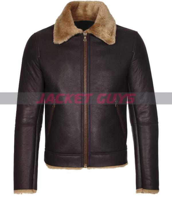 mens dark brown shearling leather jacket buy now