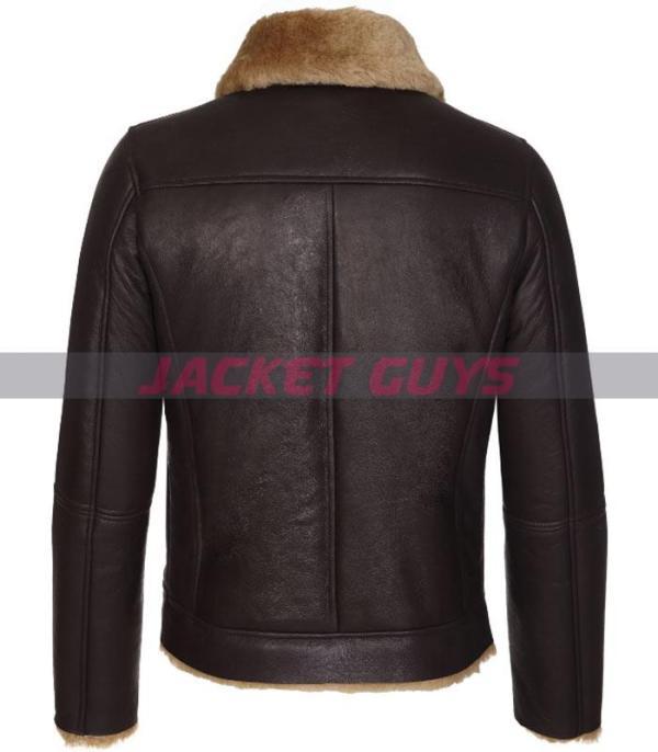 on sale mens dark brown shearling leather jacket