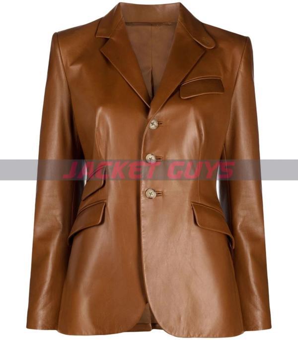 brown single breast leather blazer on sale