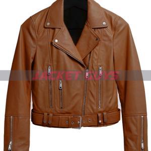 get now ladies brown motorcycle leather jacket