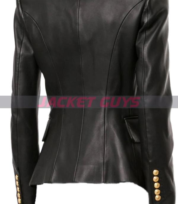 buy now womens buttoned leather blazer
