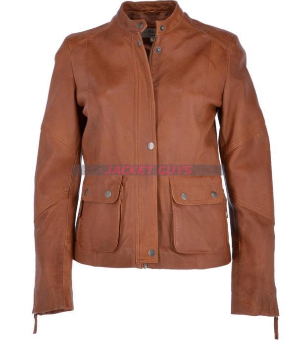womens brown biker leather jacket buy now