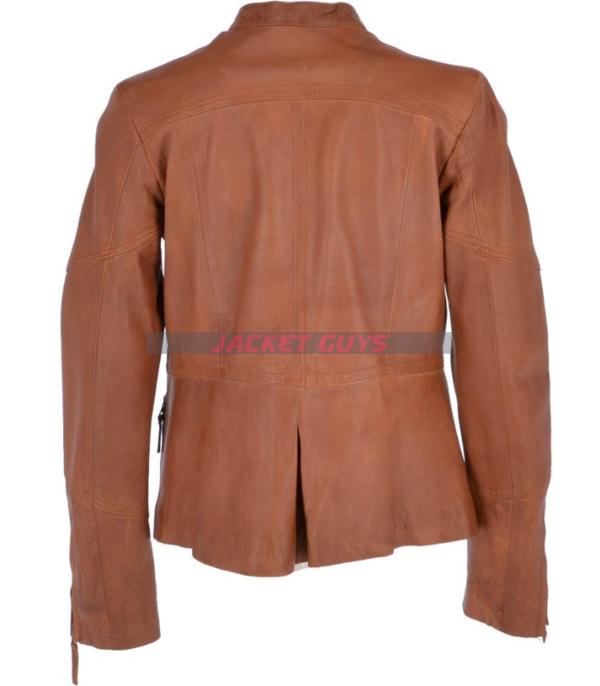 on discount womens brown biker leather jacket